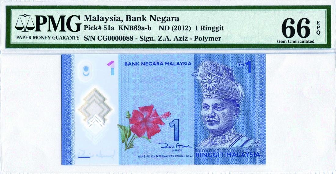 1 Ringgit 12th Series. Zeti Aziz (KNB69b:P51) S/no. CG