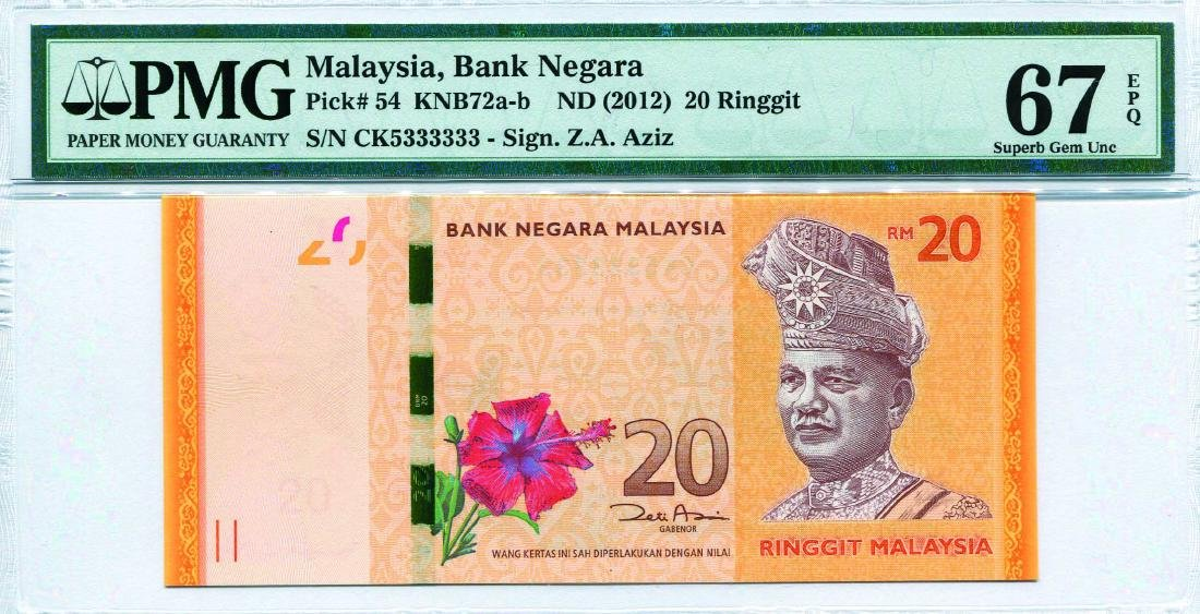 20 Ringgit 12th Series. Zeti Aziz (KNB72b:P54) S/no. CK