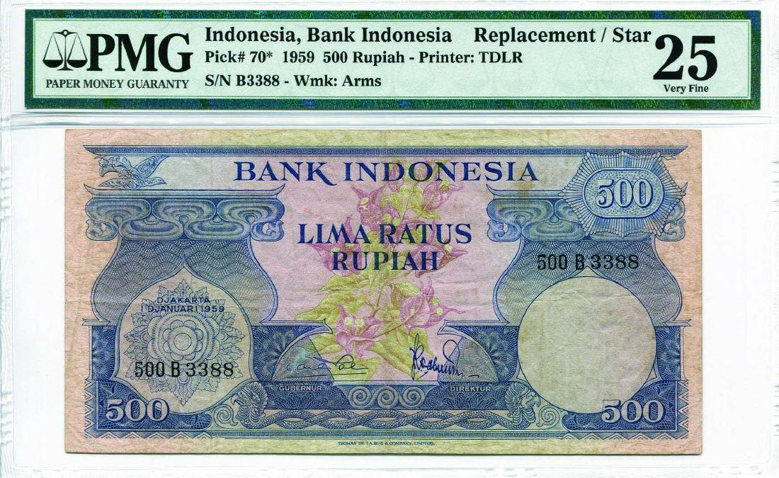 Indonesia 1959, 500 Rupiah (P70*) Replacement S/no.