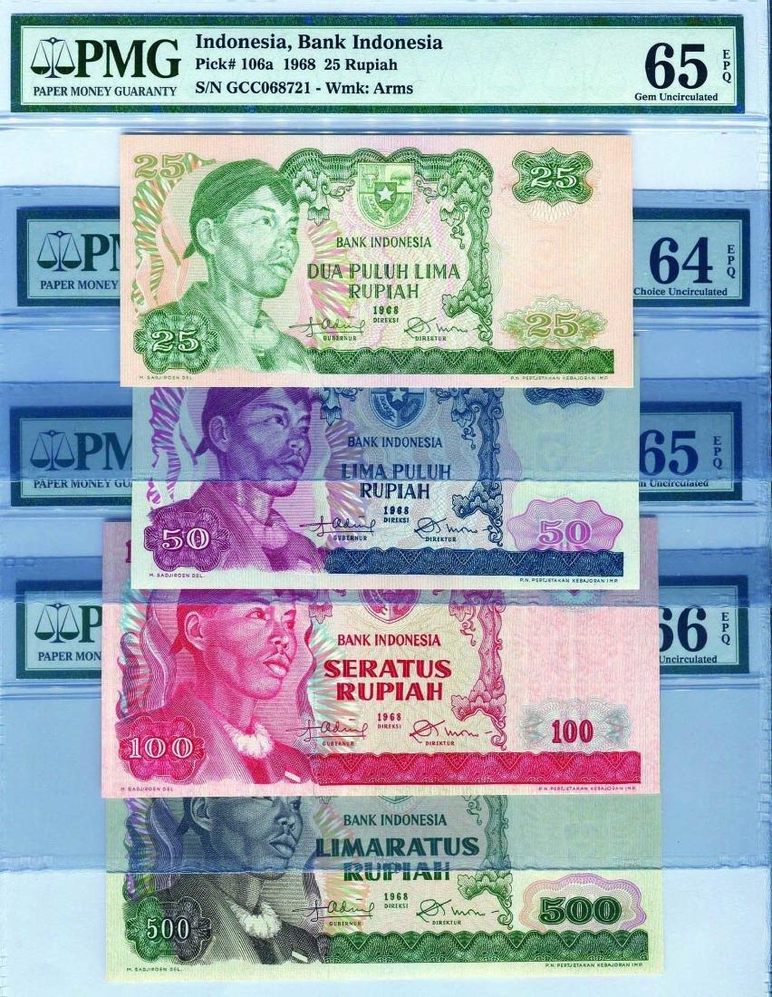 Indonesia 1968, 1-1000 Rupiah (P) PMG 64/65/66 EPQ