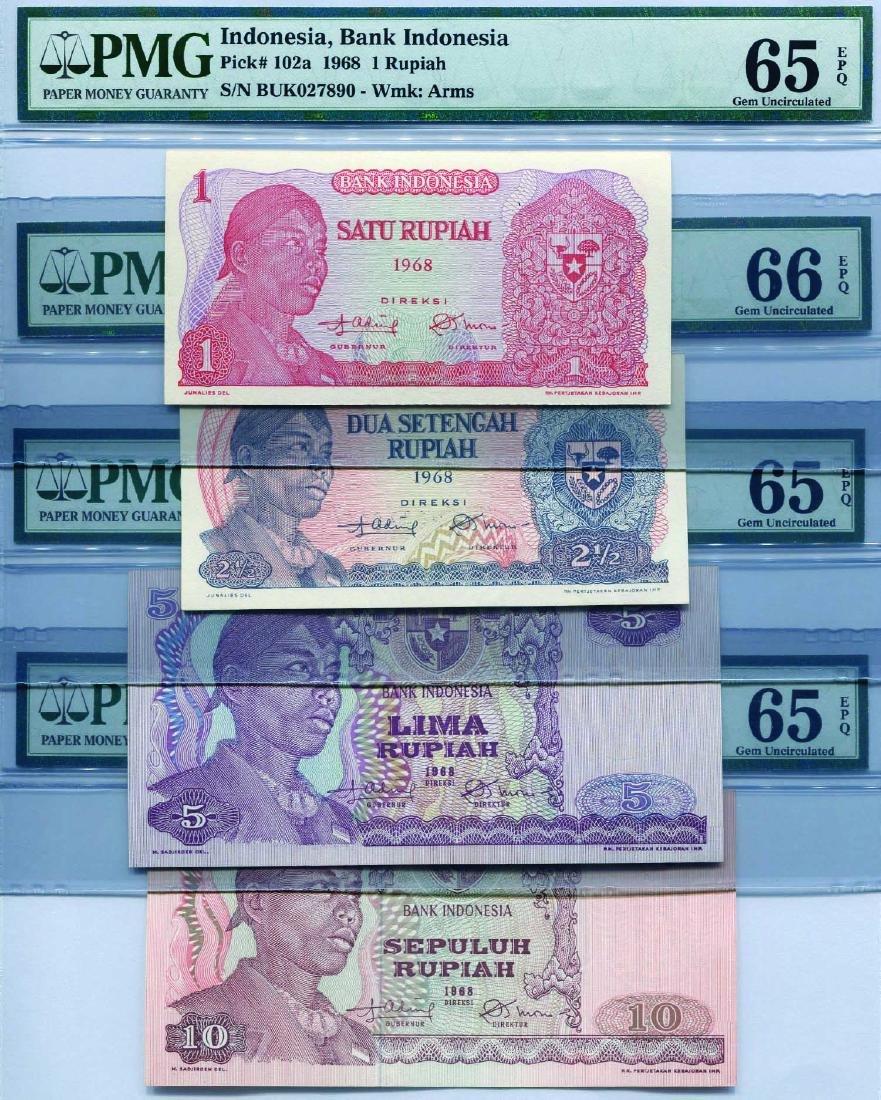 Indonesia 1968, 1-1000 Rupiah (P) PMG 64/65/66 EPQ - 2