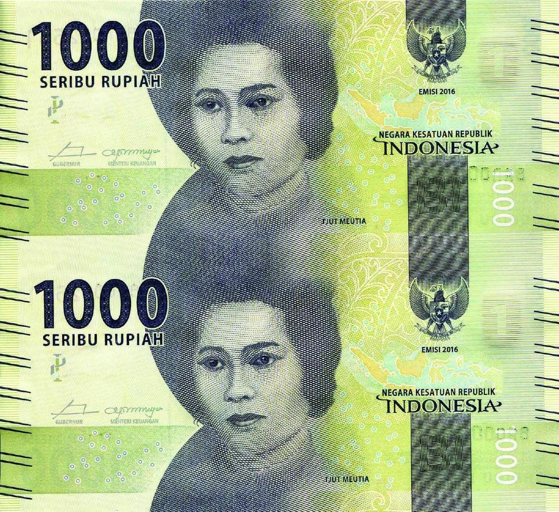 Indonesia 2016, 1,000 Rupiah Uncut Sheet of 2 & 4,