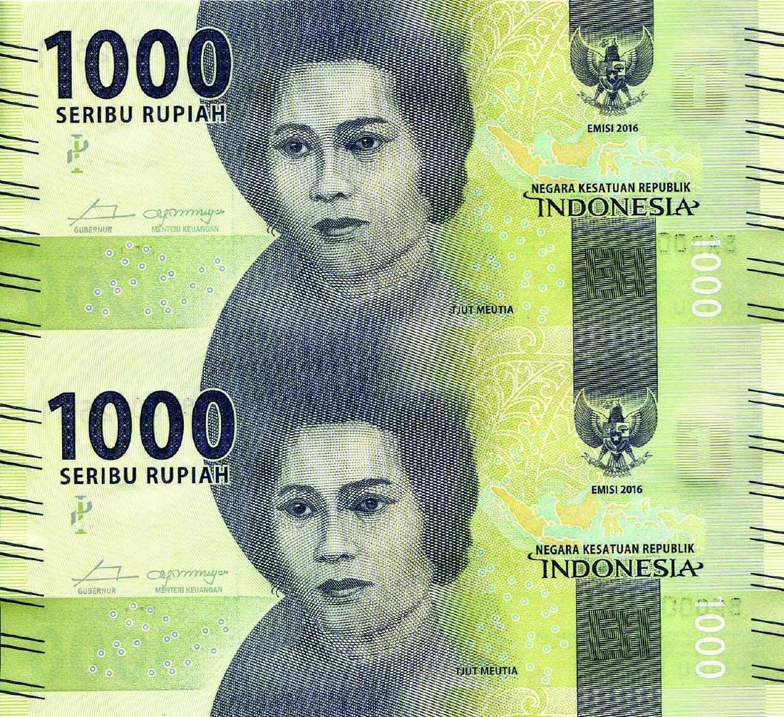 Indonesia 2016, 1,000 Rupiah Uncut Sheet 2 & 4,  S/no.