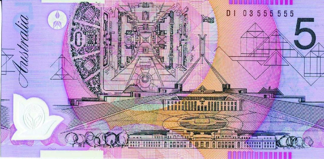 Australia 2003, $5 (P57) Solid 5's S/no. DI 03 555555