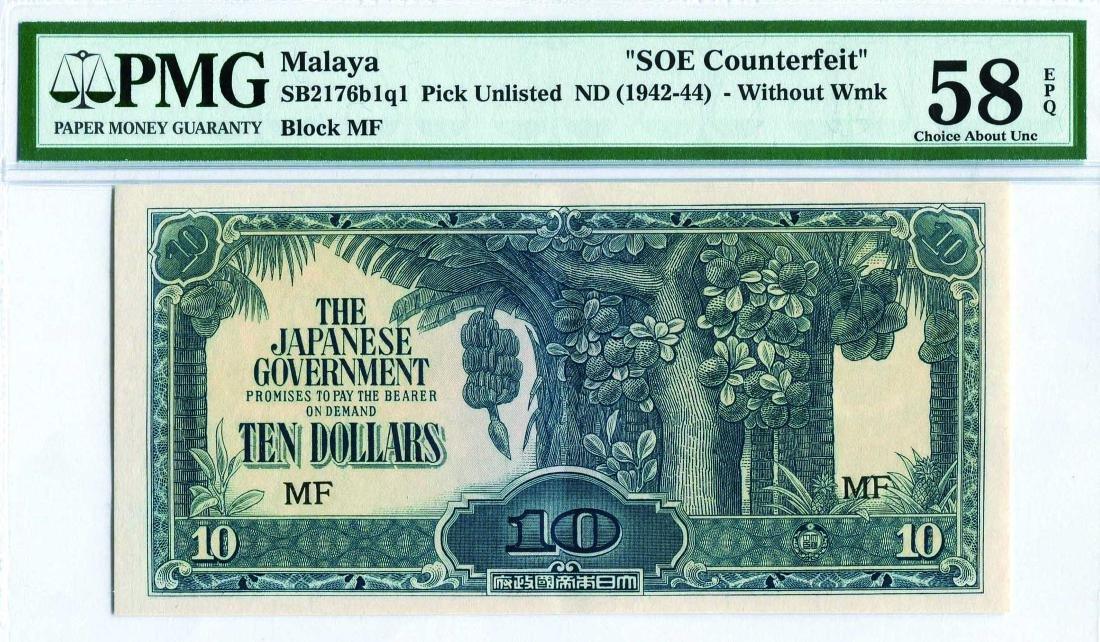Malaya Japanese Occupation 1942 - 44, 10 Dollars   SOE