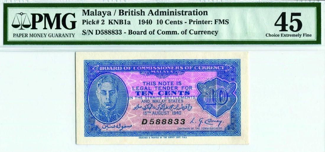 Malaya 1940, 10 Cents (KNB1a:P2) S/no. D 588833 PMG