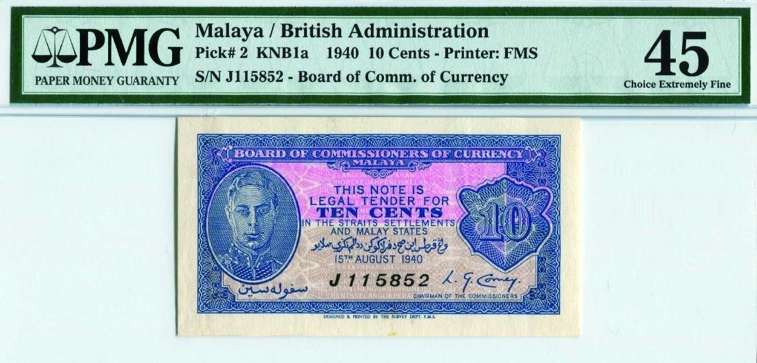Malaya 1940, 10 Cents (KNB1a:P2) SS/no. J 115852 PMG