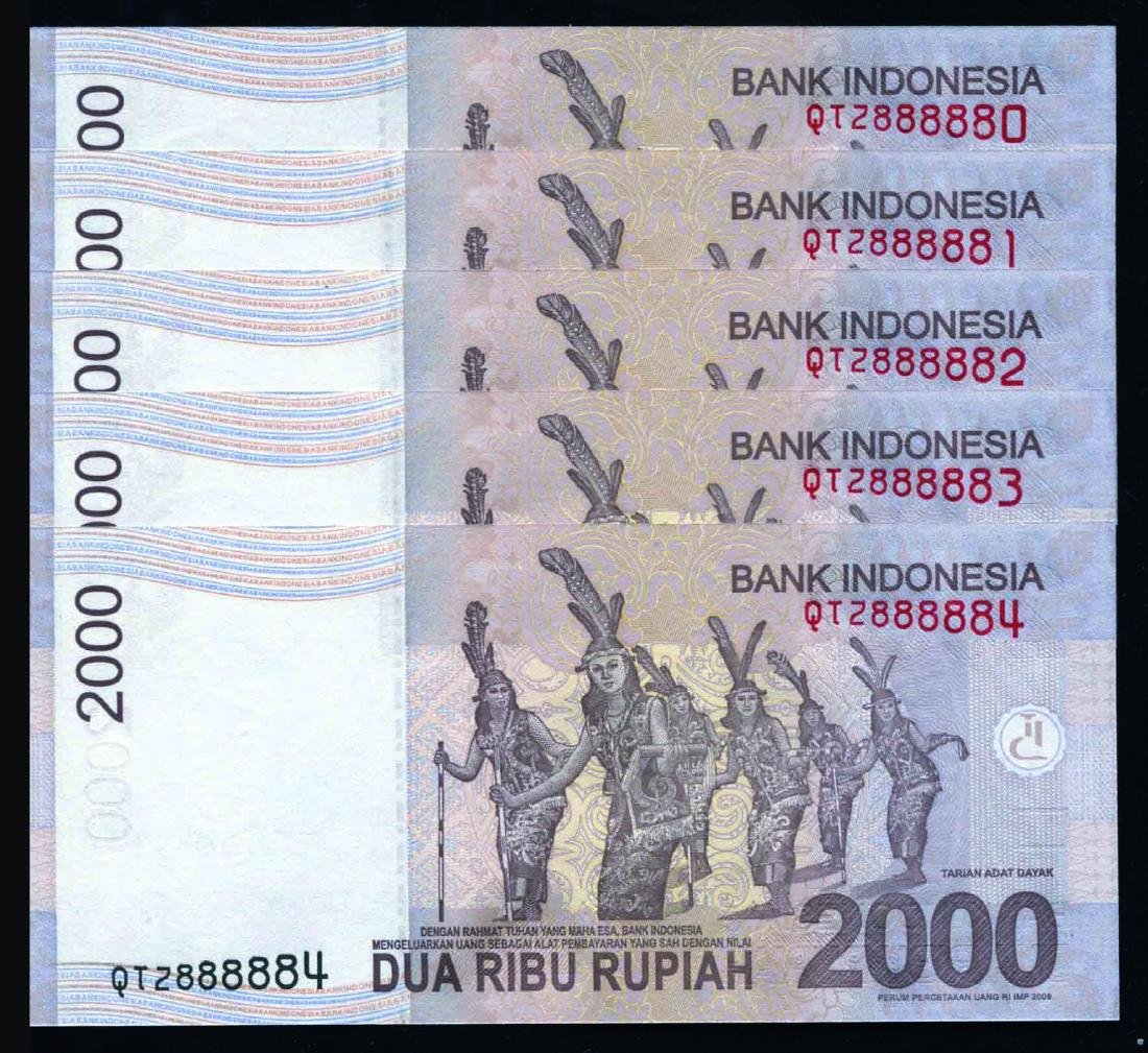 Indonesia 2009-15, 2,000 Rupiah S/no. QTZ 888880-889
