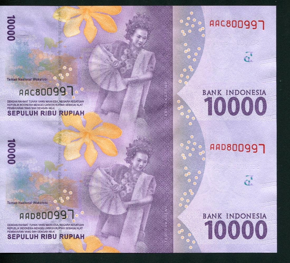 Indonesia, 10,000 Rupiah S/no. AAC 800997 Uncut sheets