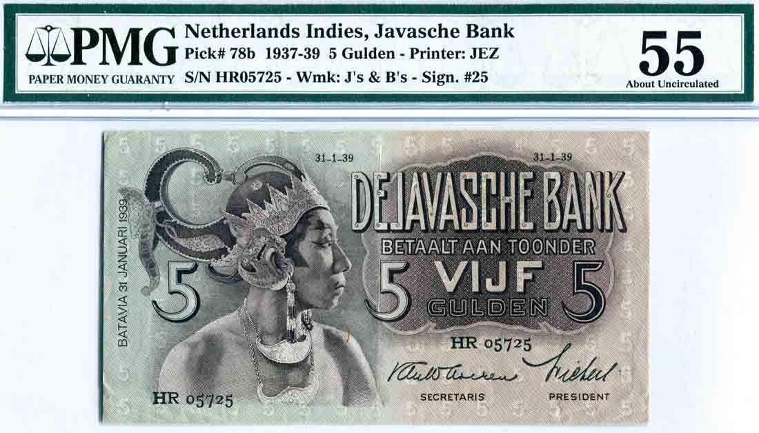 Netherlands East-Indies 1939, 5 Gulden (P78b) S/no. HR