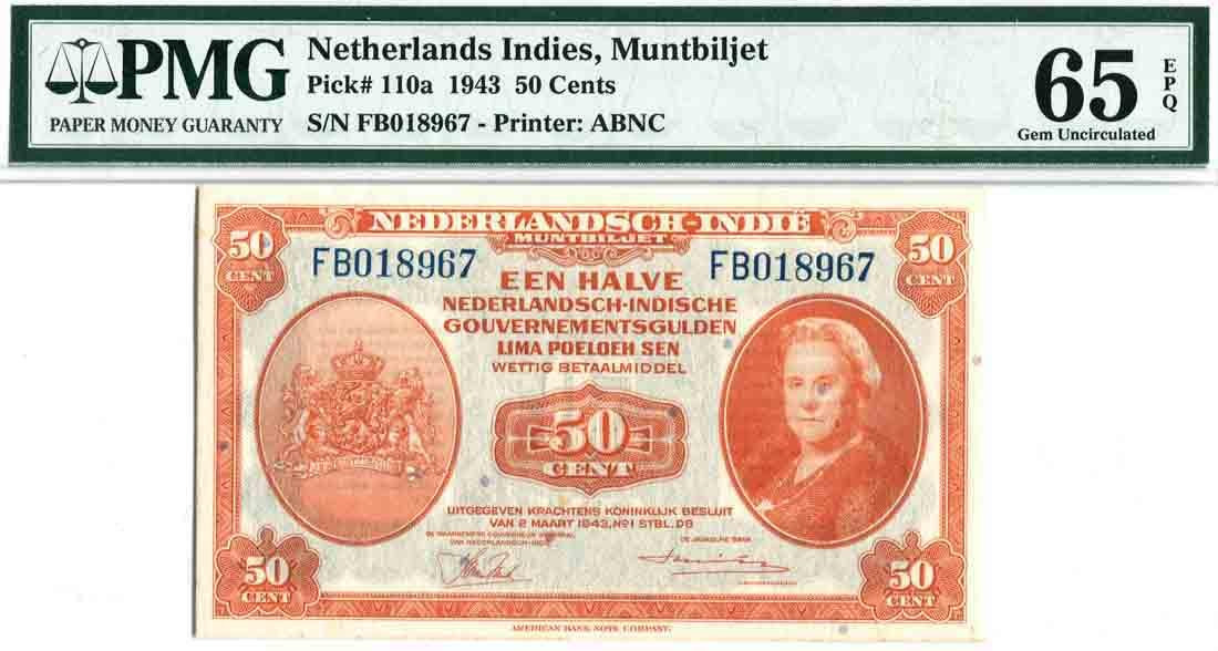 Netherlands East-Indies 1943, 50 Cents (P110a) S/no. FB