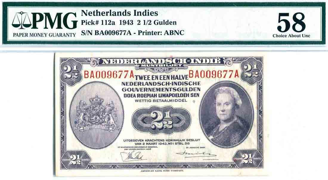Netherlands East-Indies 1943, 2 1/2 Gulden (P112a)