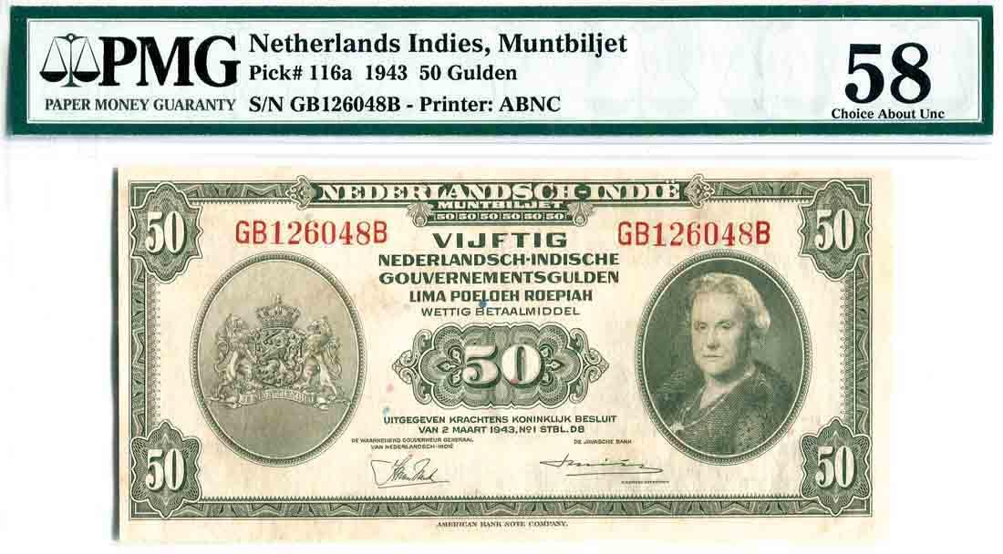 Netherlands East-Indies 1943, 50 Gulden (P116a) S/no.
