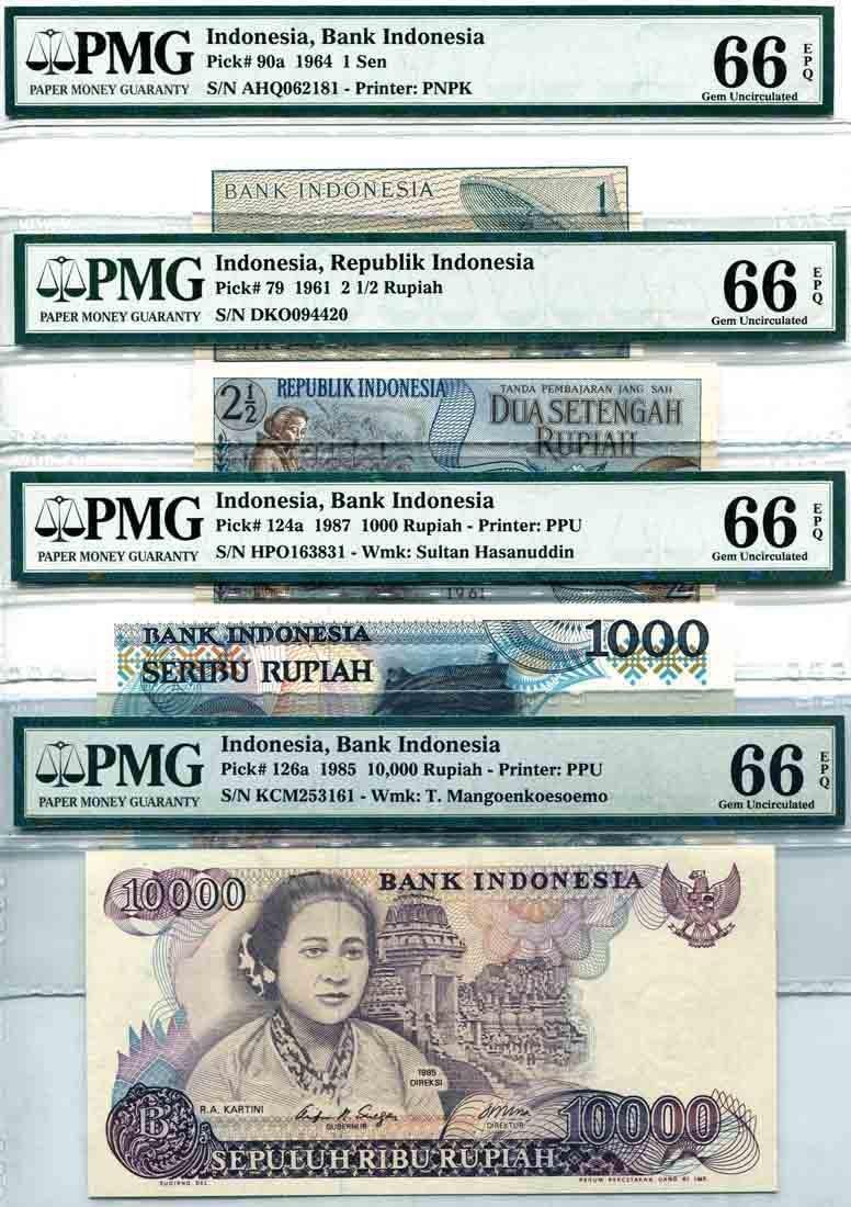 Indonesia 1961/64/85/87, 1Sen,2 1/2,1000,10000 Rupiah