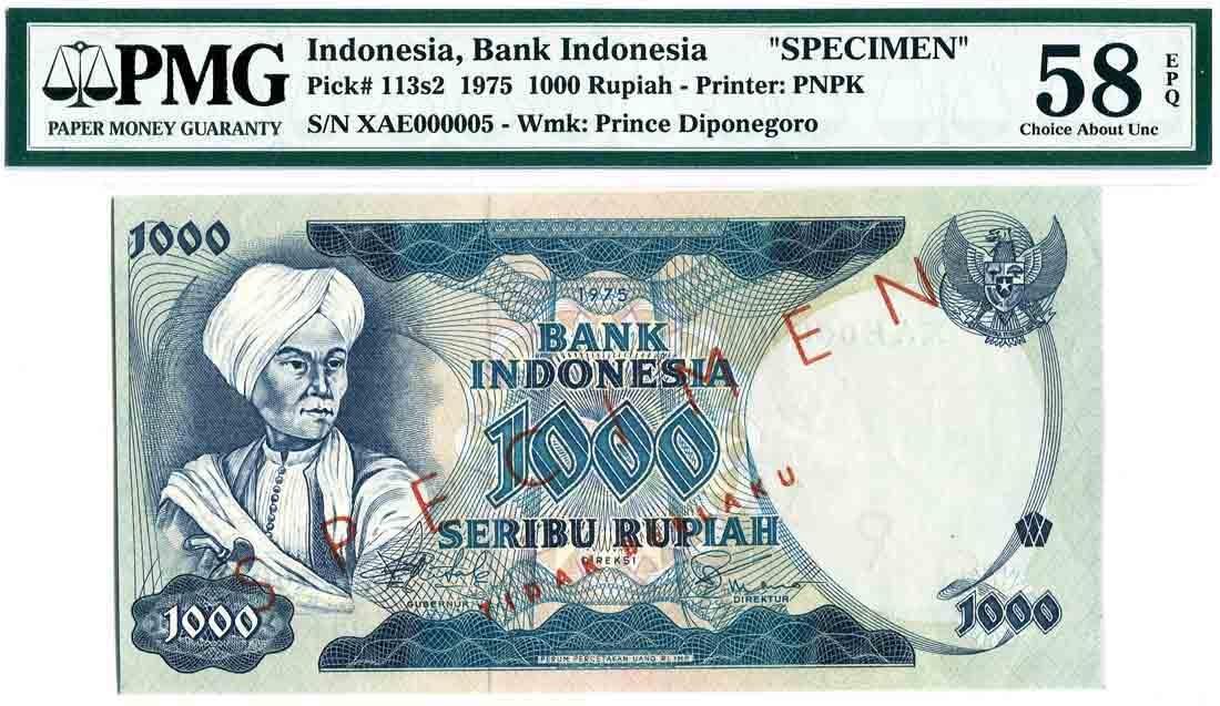 Indonesia 1975, 1000 Rupiah (P113s2) Specimen S/no.