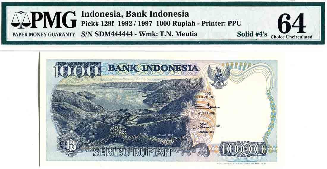 Indonesia 1992/97, 1000 Rupiah (P129f) Solid 4's SDM
