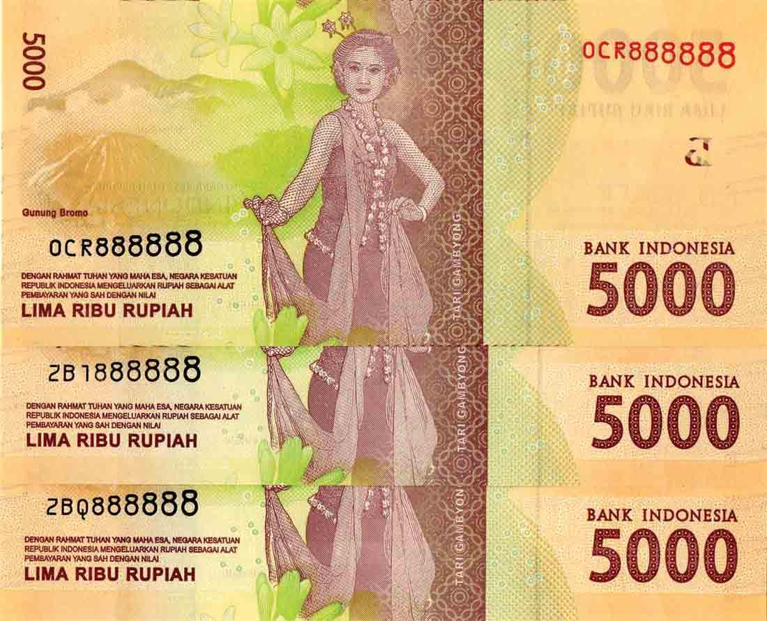 Indonesia 2016/17, 5000 Rupiah Solid 8's OCR/ZBI/ZBQ