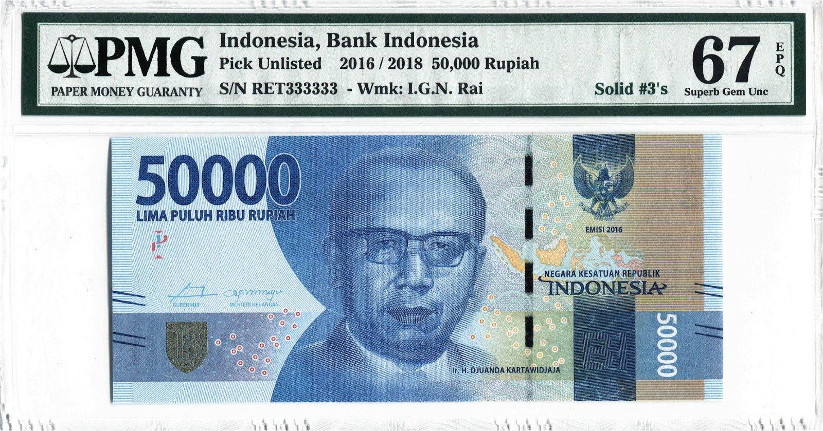 Indonesia 2016/18, 50000 Rupiah Solid 3's RET 333333,
