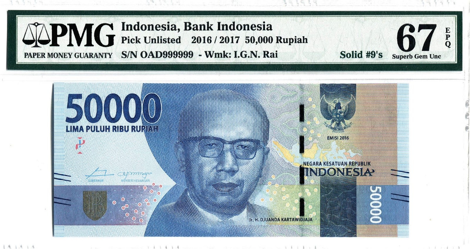 Indonesia 2016/17, 50,000 Rupiah Solid 9's OAD 999999,