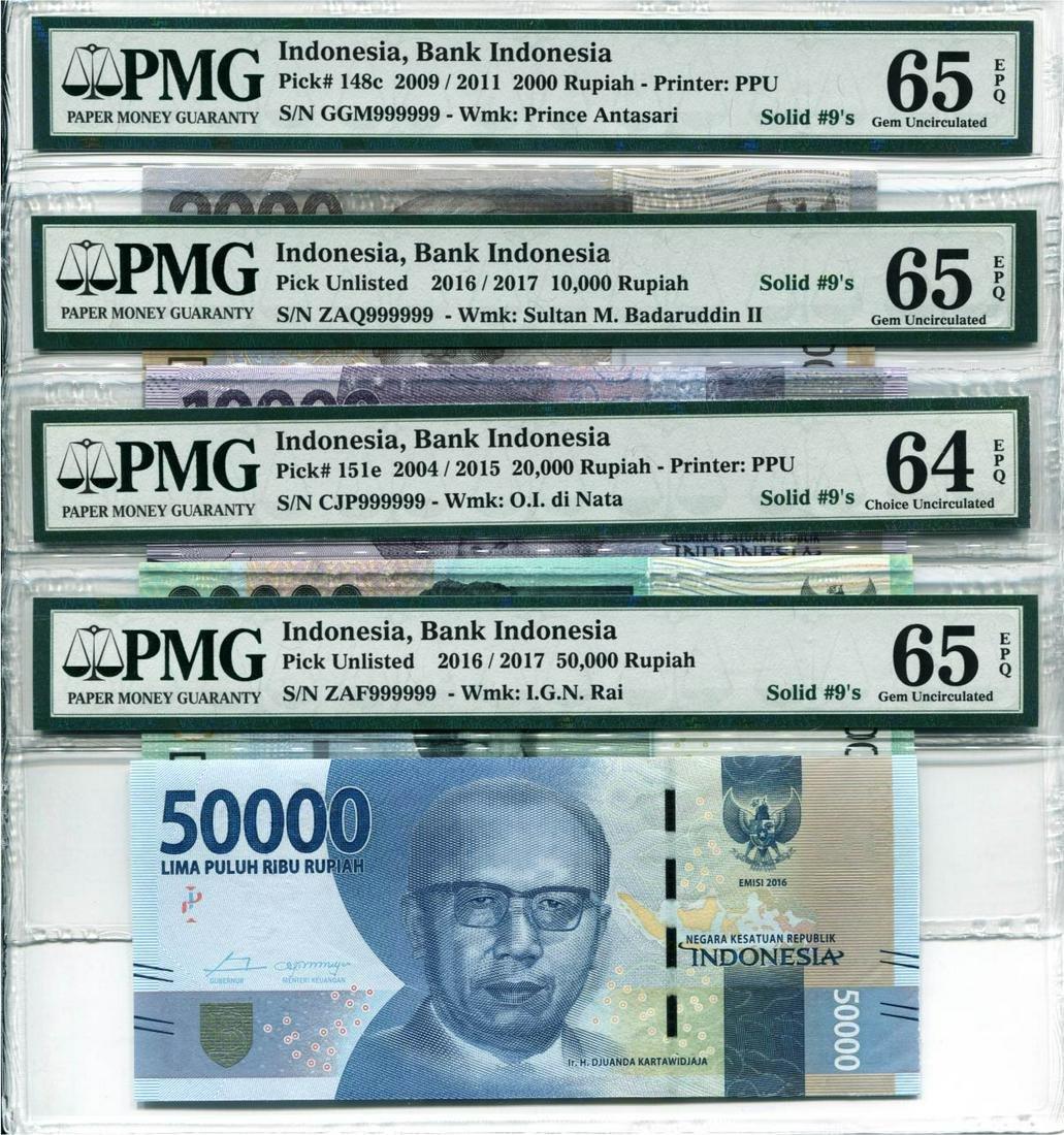 Indonesia 2004-17, 2000,10000,20000,50000 Rupiah,