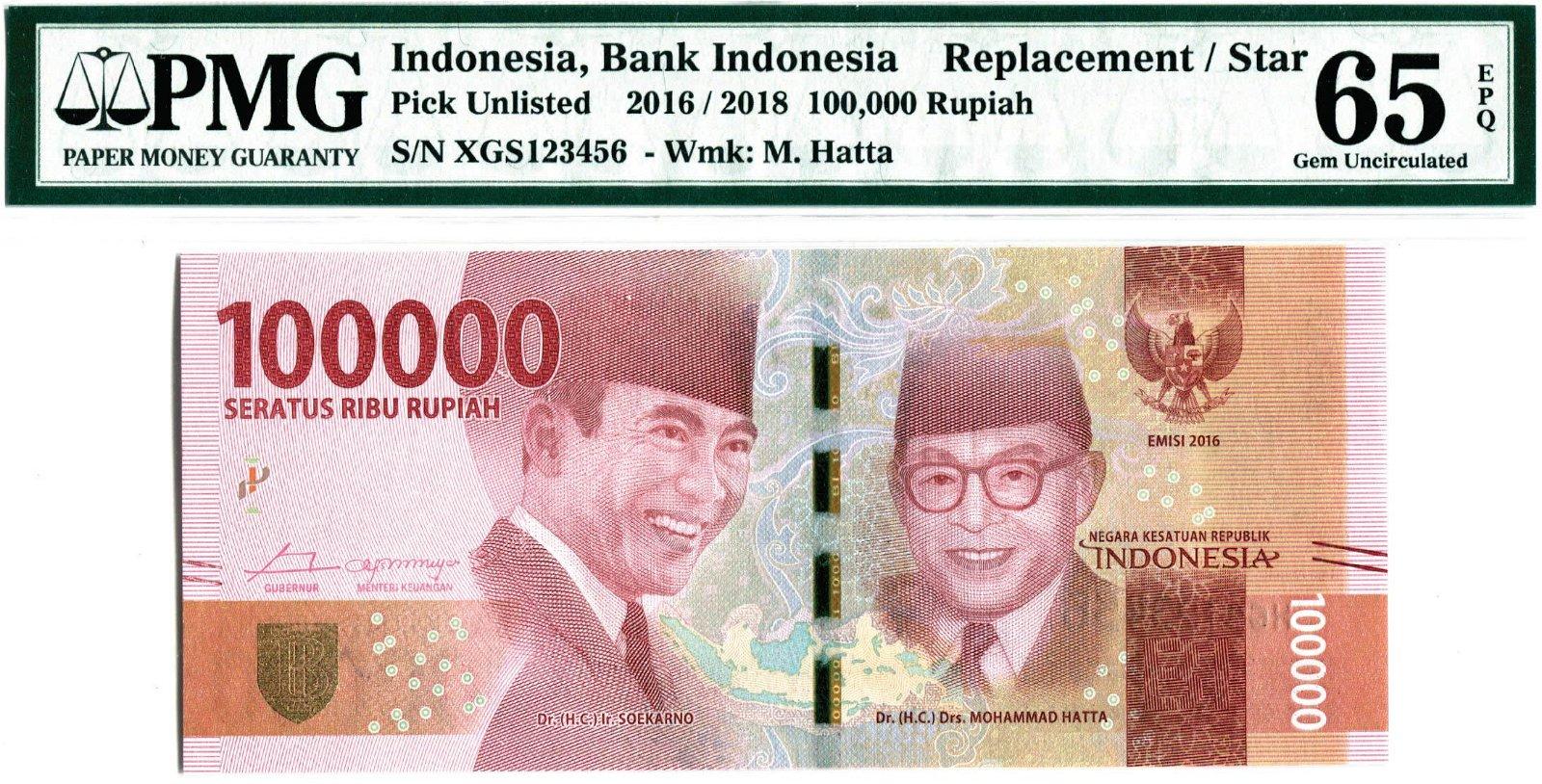 Indonesia 2016/18, 100,000 Rupiah,  Replacement/ Star,