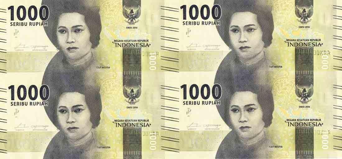 Indonesia, 1,000 Rupiah S/no. AAK 002534 Uncut sheets