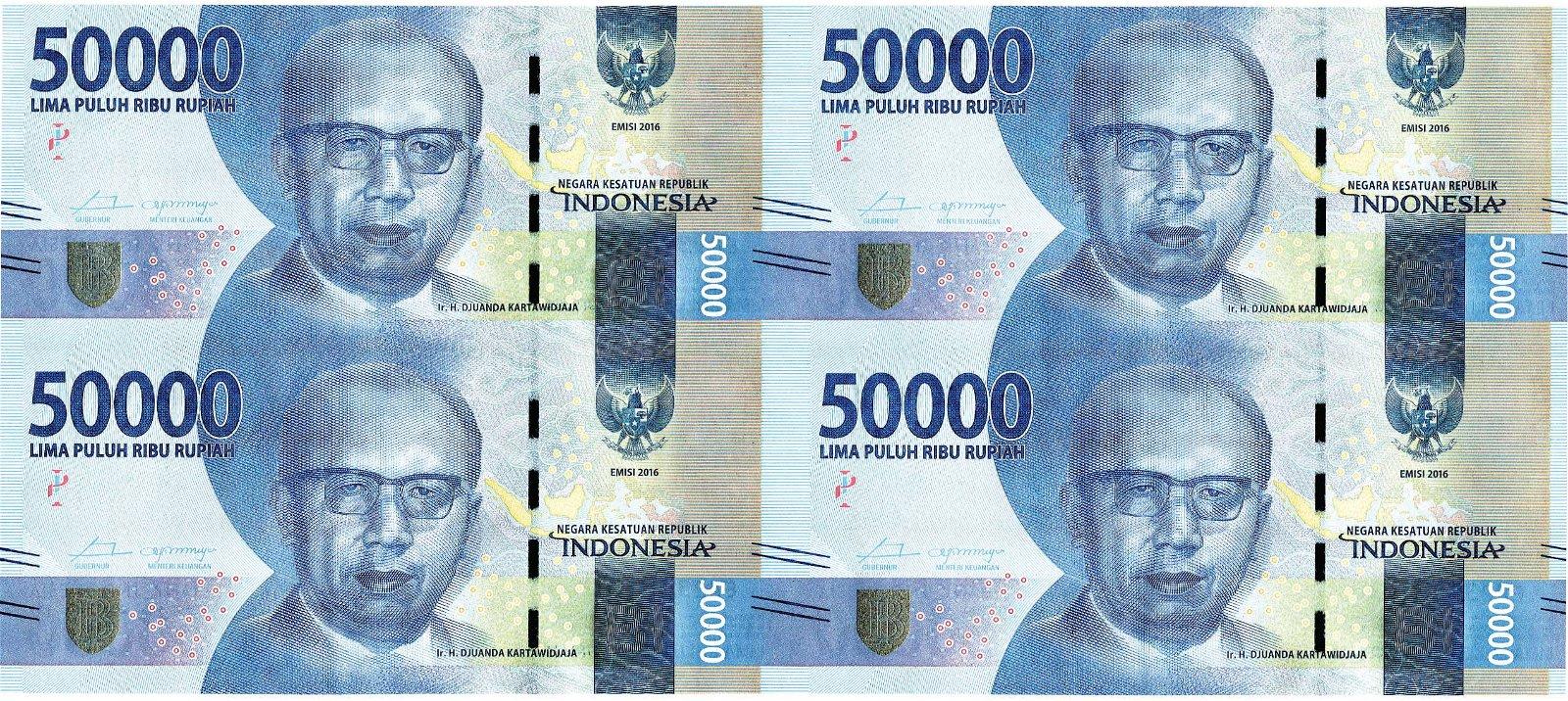 Indonesia, 50,000 Rupiah S/no. EAO 345350 Uncut sheets