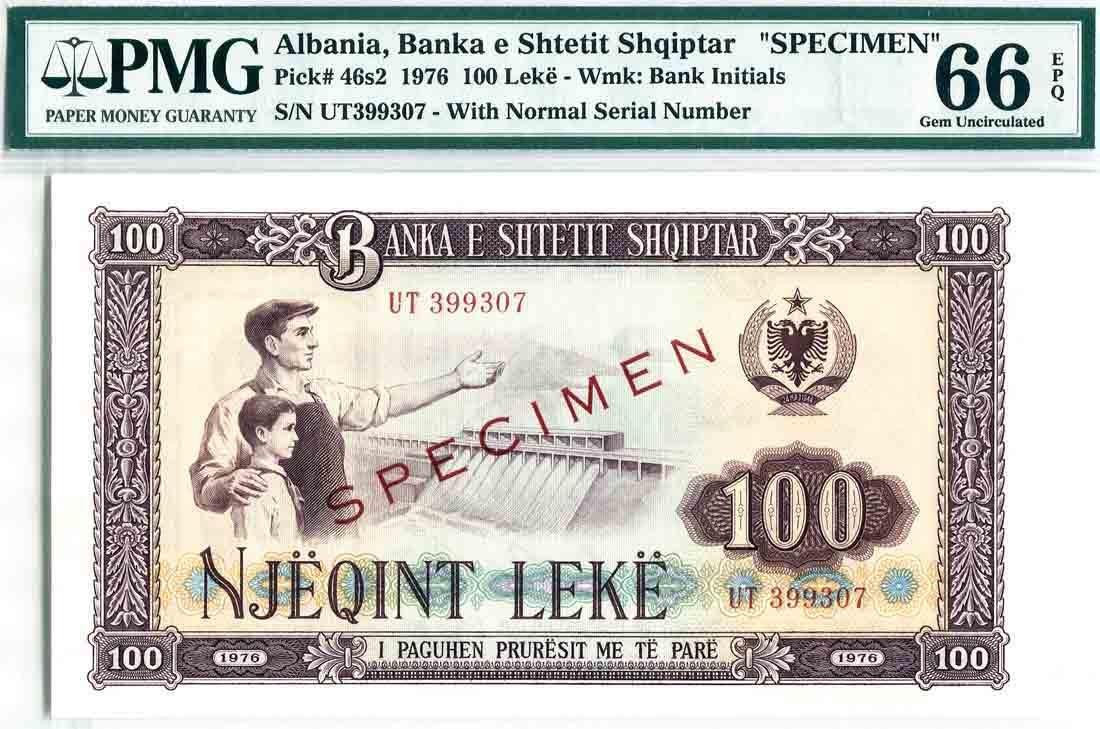 Albania 1976, 100 Leke (P46s2) Specimen S/no. UT