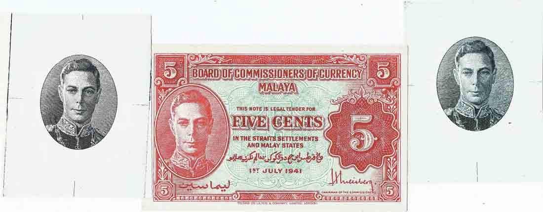 Malaya 1941, 5 Cents (KNB7b-d:P7b) with Portrait