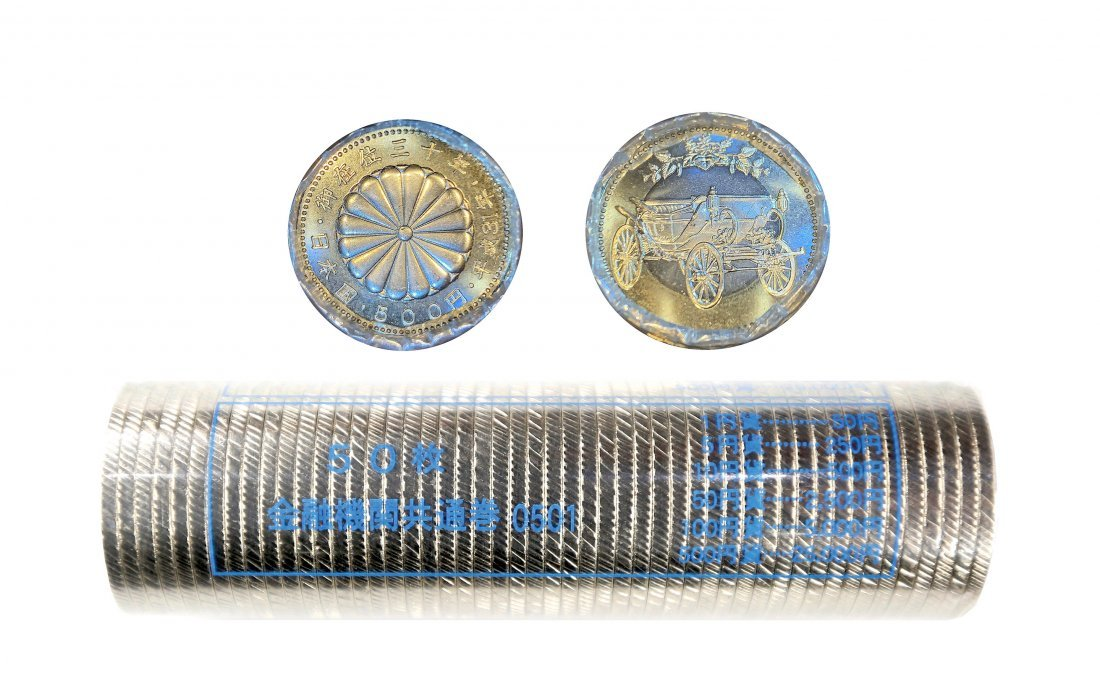 Japan 2019, a packing roll of 50 coins, 500 Yen - 30th