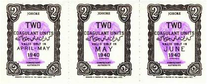 Johore 1940 Two Coagulant unit coupon UNC