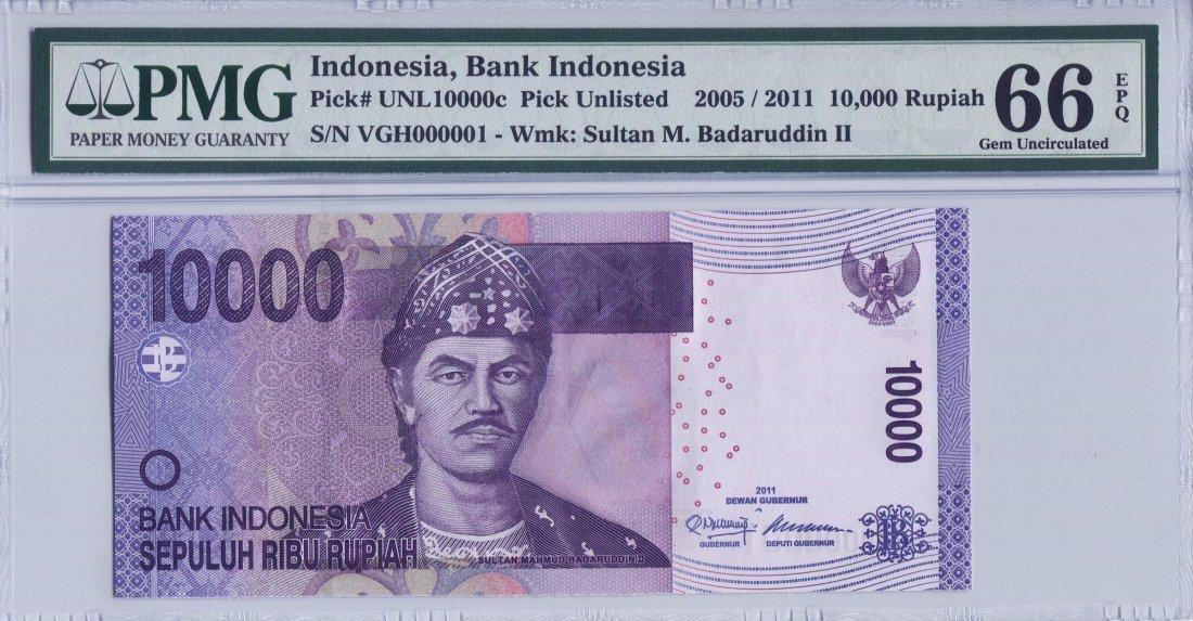 Indonesia 10,000 Rupiah (PNL) Low no. VGH 000001