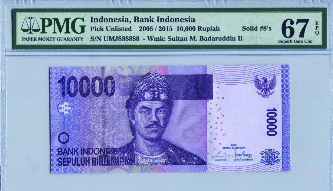 Indonesia 10,000 Rupiah (PNL) Solid no. UMJ 888888
