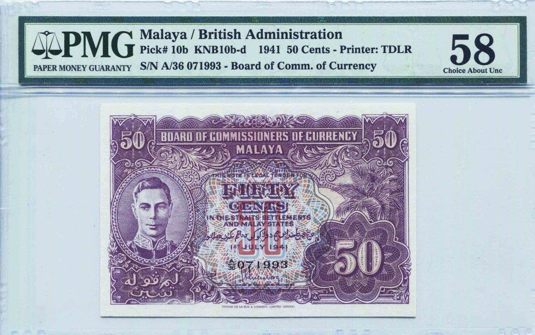 Malaya 1941. 50 Cents (KNB10d:P10c)