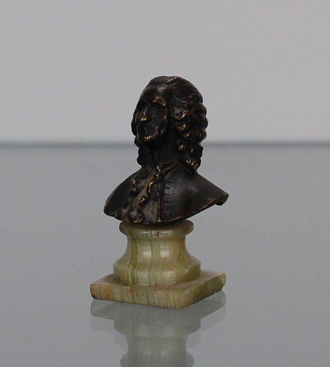 Voltaire bust small bronze sculpture french 1800