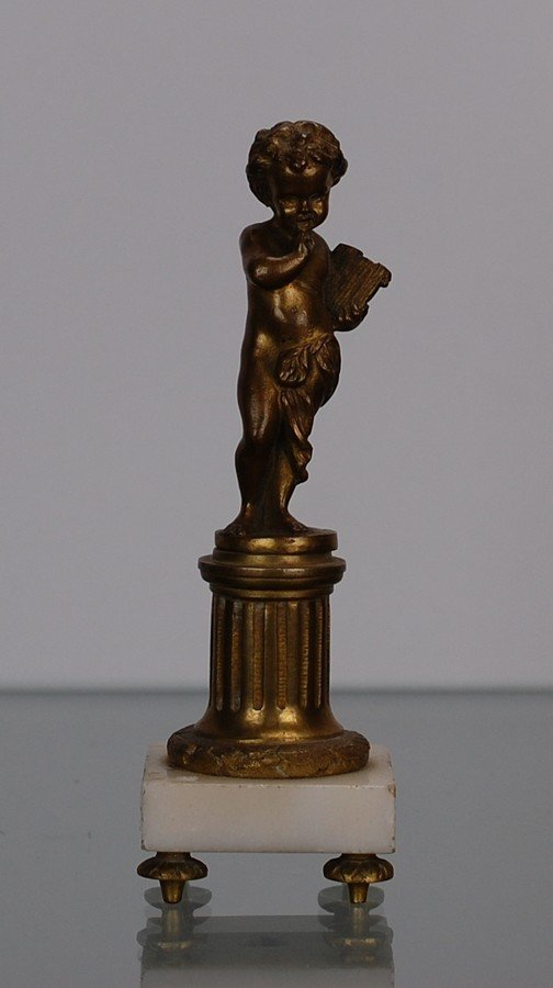 Putto smiling bronze sculpture french  empire