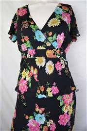 Silk Floral 1990s Peplum Dress