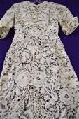 1900 1910 Handmade Battenburg Lace Dress Floral Motif