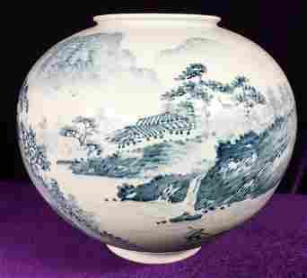 Vintage Signed Korea Studio Vase Glazed Hand Painted