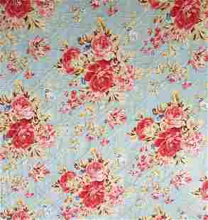 Vintage 30s 40s Quilted Rose Coverlet Blue Pink