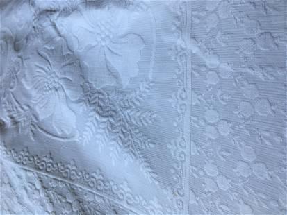 Antique Victorian White Woven Coverlet Jacquard