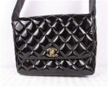 Chanel Patent Leather Quilted Flap Shoulder Bag