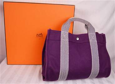 Authentic Hermes Canvas Tote w Box