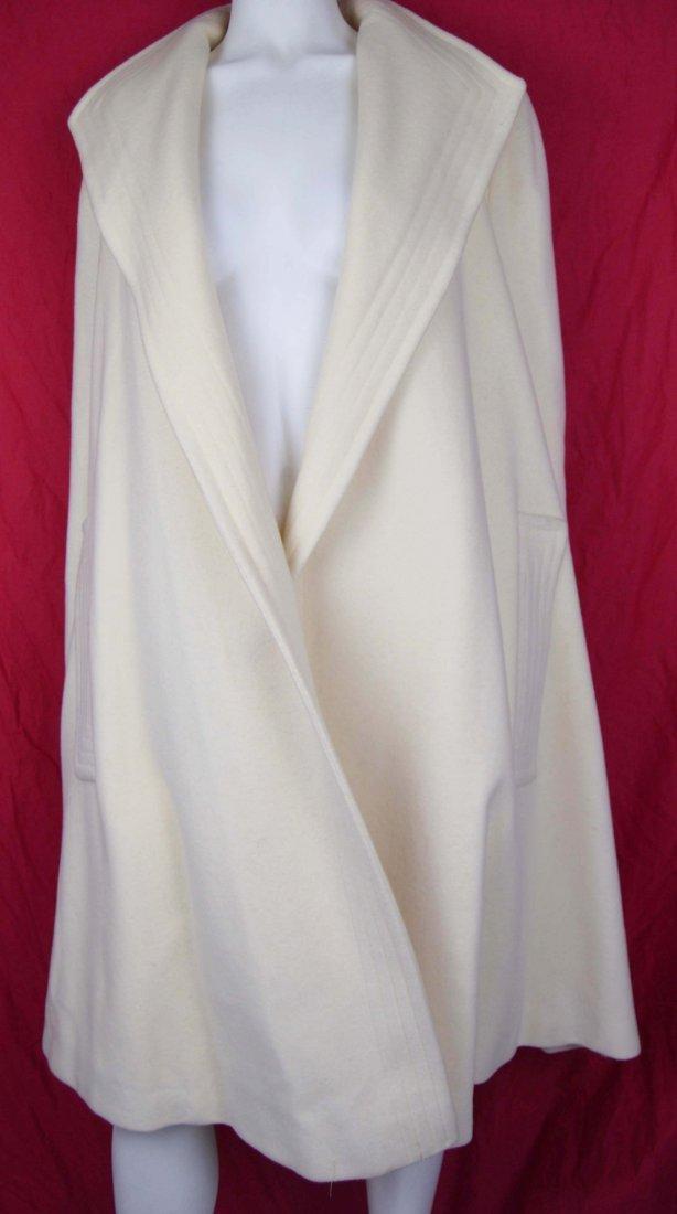 Pauline Trigere Off White Wool Swing Coat