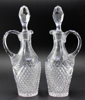 Pair of Cut Glass Oil & Vinegar Cruets with Stoppers