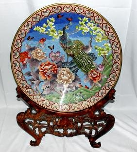 Republic Period Cloisonné Charger with Hardwood Stand