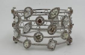 18Kt WG 17.00ct. White & Colored Diamond Bracelet
