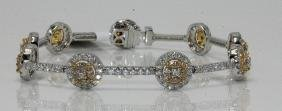 18Kt WG 4.00ct. White & Fancy Yellow Diamond Bracelet