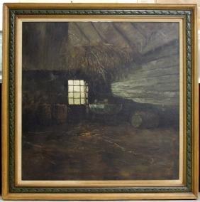 J. Braun Tarallo Interior Scene Oil on Canvas Signed