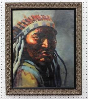 J. Braun Tarallo Native Indian Chief Portrait Oil on